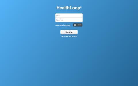 Screenshot of Login Page healthloop.com - HealthLoop® - captured Oct. 28, 2014