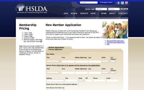 Screenshot of Signup Page hslda.org - HSLDA - captured Sept. 25, 2014