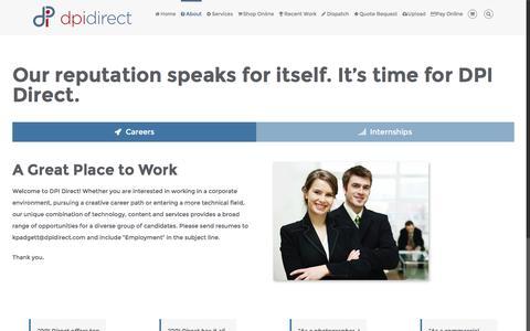 Screenshot of Jobs Page dpidirect.com - San Diego Careers & Internships at Digital One Color - captured Nov. 23, 2016