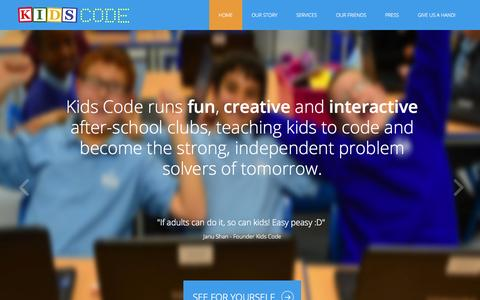 Screenshot of Home Page kidscode.org.uk - Home - Kids Code - captured Sept. 30, 2014