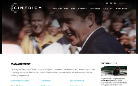 Screenshot of Team Page cinedigm.com - Management | Cinedigm - captured July 20, 2014