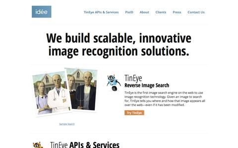 Screenshot of Home Page ideeinc.com - Idée Inc. - The image search and recognition company - captured Oct. 9, 2015