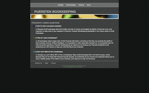 Screenshot of FAQ Page puerstenbookkeeping.com - FAQs - captured Sept. 26, 2014