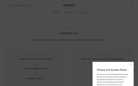 Screenshot of Contact Page rimowa.com - Sites-Rimowa-Site - captured June 25, 2018