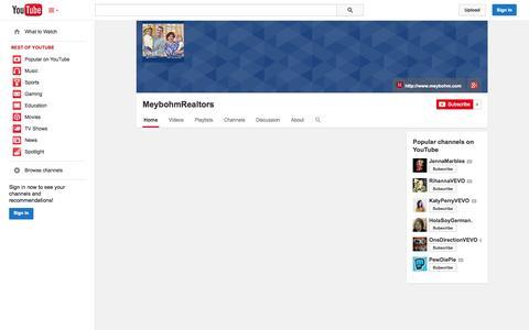 Screenshot of YouTube Page youtube.com - MeybohmRealtors  - YouTube - captured Nov. 3, 2014