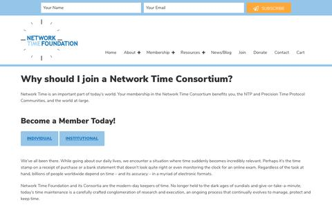 Screenshot of Signup Page nwtime.org - Why should I join a Network Time Consortium? - Network Time Foundation - captured Oct. 20, 2017