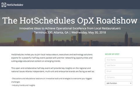 Screenshot of Landing Page hotschedules.com - Atlanta OpX Roadshow - captured April 21, 2018