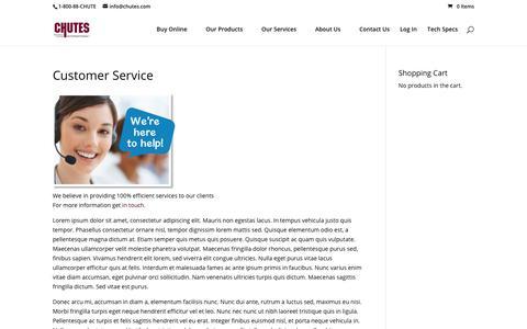 Screenshot of Support Page chutes.com - Customer Service - Chutes International - captured Nov. 9, 2018