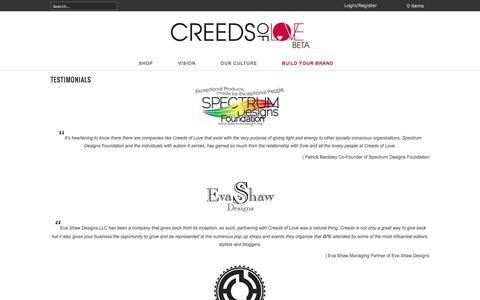 Screenshot of Testimonials Page creedsoflove.com - TESTIMONIALS   CREEDS OF LOVE - captured Sept. 30, 2014
