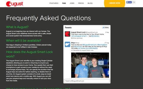 Screenshot of FAQ Page august.com - August Smart Lock FAQ - captured Sept. 13, 2014