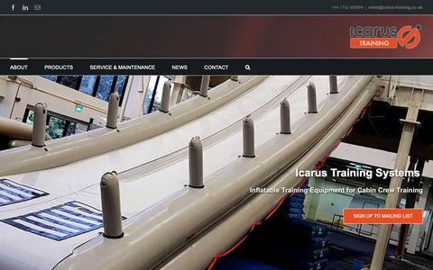 Screenshot of Home Page icarus-training.co.uk - Icarus Training Systems | Inflatable Cabin Crew Training Products - captured Oct. 11, 2018