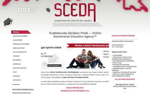 Screenshot of Home Page sceda.eu - Továbbtanulás Dániában - Scandinavian Education Agency (SCEDA) - captured Oct. 3, 2014