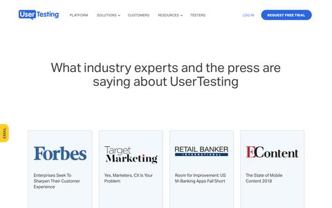 Screenshot of Press Page usertesting.com - UserTesting in the News - captured March 23, 2018