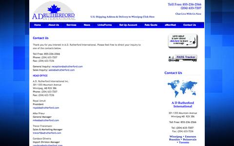 Screenshot of Contact Page Locations Page adrutherford.com - A.D. Rutherford International - Customs Brokers, Consultants & Freight Forwarders - Contact Us - captured Oct. 23, 2014