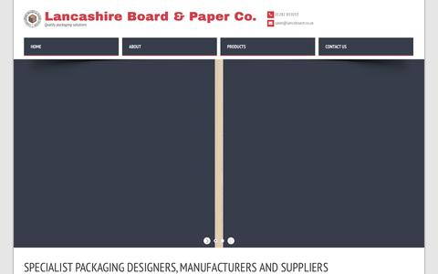 Screenshot of Home Page lancsboard.co.uk - Specialist packaging designers, manufacturers and suppliers | Lancashire Board - captured Sept. 26, 2018