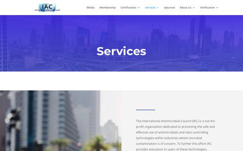 Screenshot of Services Page amcouncil.org - Services - International Antimicrobial Council - captured Nov. 14, 2018