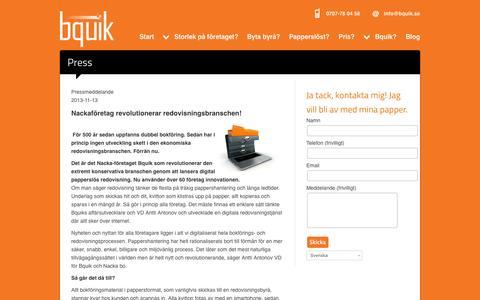 Screenshot of Press Page bquik.se - Press - Bquik Redovisning - Digital online redovisning i Nacka Stockholm - captured Oct. 5, 2014