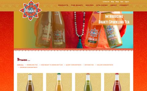 Screenshot of Products Page drinkbhakti.com - Bhakti Moves Beyond Chai With New Sparkling Tea Line - captured July 29, 2016