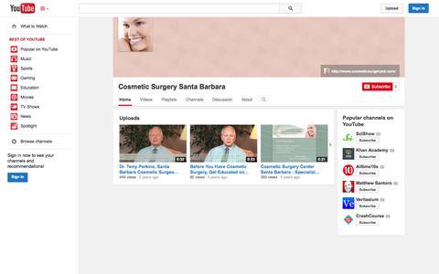 Screenshot of YouTube Page youtube.com - Cosmetic Surgery Santa Barbara  - YouTube - captured Oct. 23, 2014