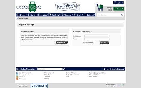 Screenshot of Login Page theluggageandbagshop.co.uk - The Luggage and Bag Shop | Buy Luggage Bags | Travel Bags Online - captured Sept. 30, 2014