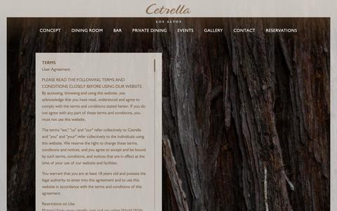 Screenshot of Terms Page cetrella.com - Cetrella Los Altos | Mediterranean-Rim and California Coastal Cuisine | Legal - captured Sept. 27, 2018