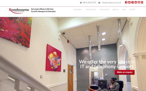 Screenshot of Home Page rombourne.co.uk - Rombourne Serviced Offices in Bristol, Cardiff, Newport & Swindon - captured Feb. 15, 2016