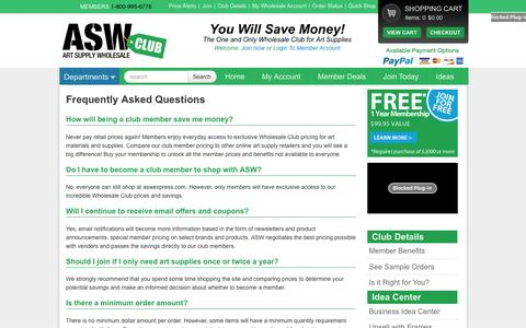 Screenshot of FAQ Page aswexpress.com - ASW Club Member Information - captured Jan. 19, 2016