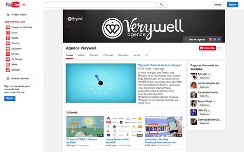 Screenshot of YouTube Page youtube.com - Agence Verywell  - YouTube - captured Oct. 23, 2014