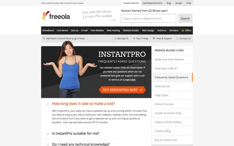 Screenshot of FAQ Page freeola.com - Online website builder FAQs, InstantPro from Freeola - captured Feb. 3, 2017
