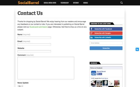 Screenshot of Contact Page socialbarrel.com - Contact Us - captured Oct. 26, 2014