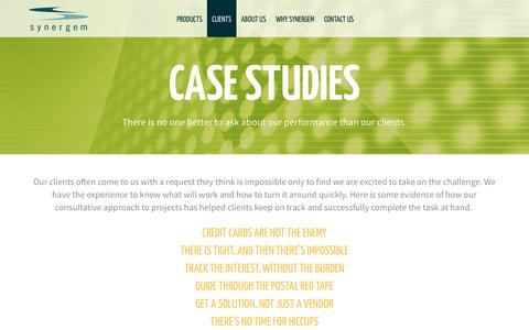 Screenshot of Case Studies Page synergem.com - Synergem | Case Studies - captured Dec. 21, 2016