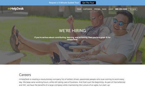 Screenshot of Jobs Page mhelpdesk.com - Careers - mHelpDesk - captured Oct. 1, 2015