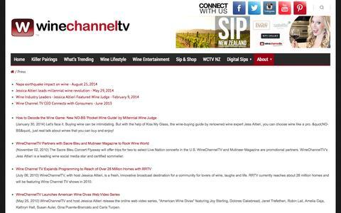 Screenshot of Press Page winechanneltv.tv - Press  - Wine Channel TV - captured Oct. 26, 2014