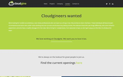 Screenshot of Jobs Page cloudgine.com - Careers – Cloudgine - captured July 19, 2018