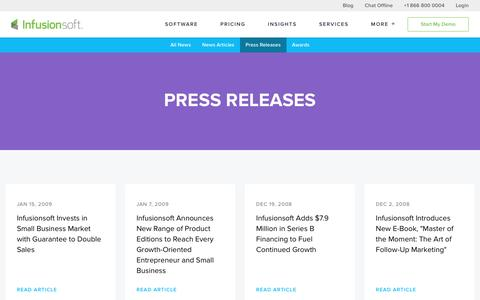 Screenshot of Press Page infusionsoft.com - We Help Small Businesses Succeed | Infusionsoft Press Releases - captured Jan. 14, 2017