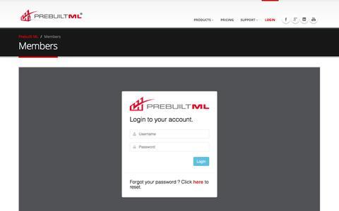 Screenshot of Login Page prebuiltml.com - Members - Prebuilt ML - captured Dec. 10, 2015