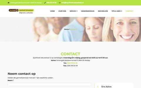 Screenshot of Contact Page apotheekveluwelaan.nl - Apotheek Veluwelaan - Neem contact met ons op. - captured July 30, 2018