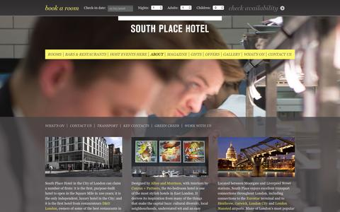 Screenshot of About Page southplacehotel.com - London Hotel, About Us - South Place Hotel, London - captured Jan. 11, 2016