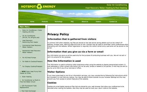 Screenshot of Privacy Page hotspotenergy.com - Privacy Policy | HotSpot Energy LLC - captured Sept. 22, 2014