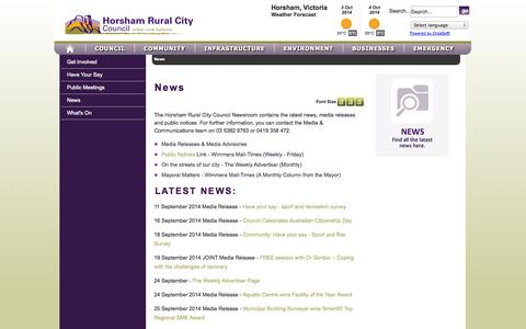 Screenshot of Press Page hrcc.vic.gov.au - News - captured Oct. 3, 2014