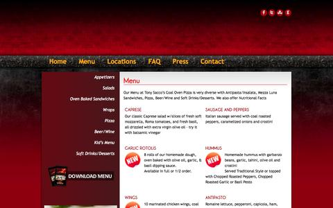 Screenshot of Menu Page tonysaccos.com - Tony Saccos Coal Oven Pizza |   Menu - captured Oct. 6, 2014