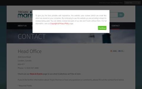 Screenshot of Contact Page trojanmarinex.com - Contact Us | Trojan Marinex - captured Oct. 9, 2014