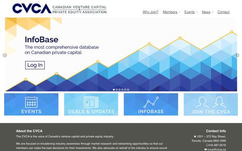 Screenshot of Home Page cvca.ca - Canadian Venture Capital and Private Equity Association - captured Jan. 23, 2016