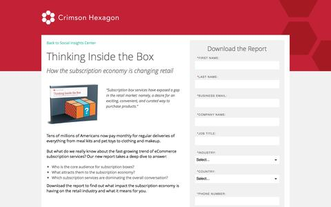 Screenshot of Landing Page crimsonhexagon.com - Subscription Box Industry Analysis | eCommerce Social Data - captured Nov. 2, 2016