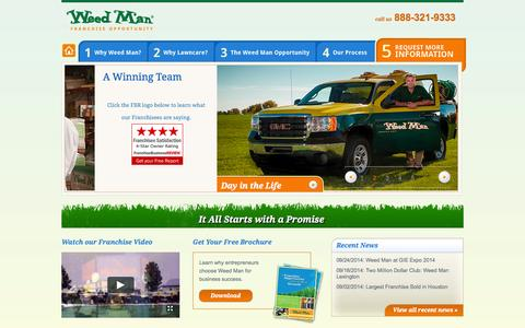 Screenshot of Home Page weedmanfranchise.com - Weed Man Lawn Care Franchise - Home   It All Starts with a Promise - captured Oct. 6, 2014