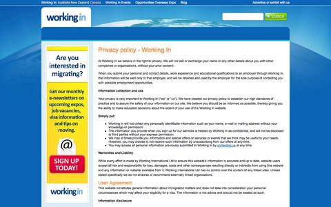 Screenshot of Privacy Page workingin.com - Privacy policy - Working In | Working In - captured Oct. 7, 2014