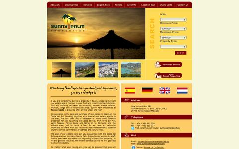Screenshot of Home Page sunnypalmproperties.eu - Sunny Palm Properties - English speaking Real Estate Agent for sale/purchase/rentals at Torrox Costa, Axarquía, Málaga, Andalusie, Spanien - captured Oct. 8, 2014