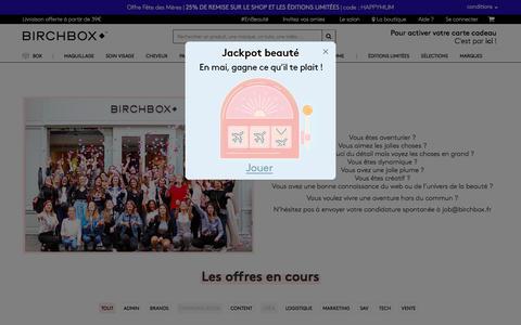 Screenshot of Jobs Page birchbox.fr - Offres d'emploi - Birchbox - captured May 17, 2018