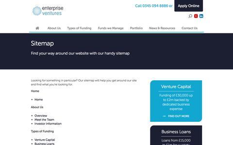 Screenshot of Site Map Page evgroup.uk.com - Sitemap - Enterprise Ventures - captured Oct. 18, 2016