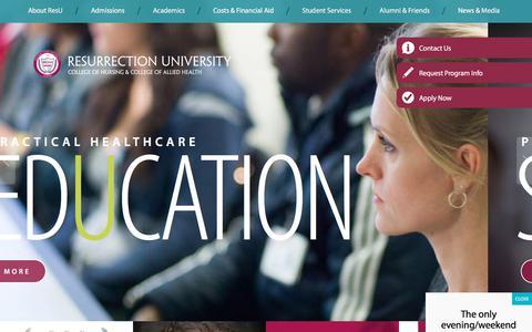 Screenshot of Home Page resu.edu - Best Nursing Schools in Chicago, IL | Resurrection                    University - captured Oct. 22, 2017